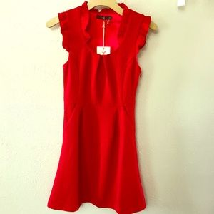 THML Red Dress with Scoop Ruffle Neck Size XS